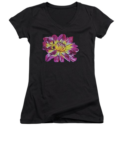 Bursting Bloom Women's V-Neck (Athletic Fit)