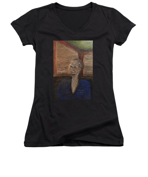 Women's V-Neck T-Shirt (Junior Cut) featuring the mixed media Bus by Steve  Hester