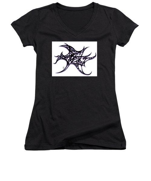 Women's V-Neck T-Shirt (Junior Cut) featuring the drawing Bushal A Thorns Purple by Jamie Lynn