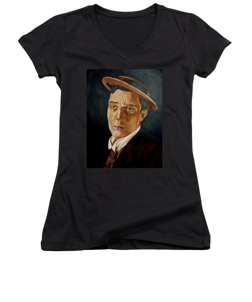 Buster Keaton Tribute Women's V-Neck (Athletic Fit)