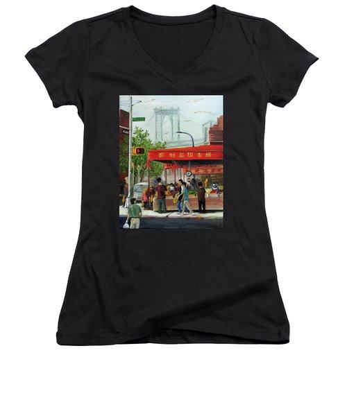 Busy Corner Women's V-Neck T-Shirt