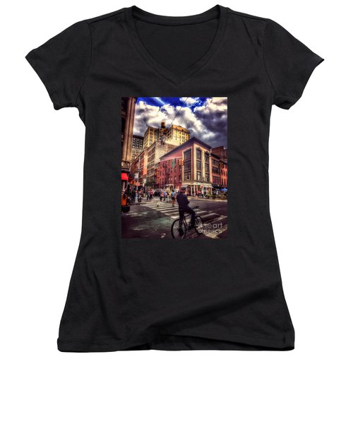 Busy Day In The City Women's V-Neck (Athletic Fit)