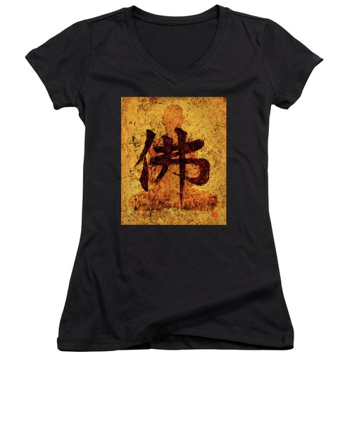 Butsu / Buddha Painting 1 Women's V-Neck (Athletic Fit)