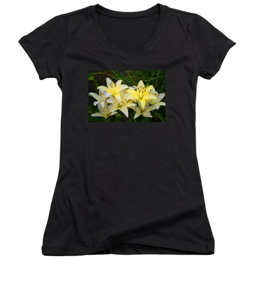 Women's V-Neck T-Shirt (Junior Cut) featuring the photograph Buttercreams by Kathryn Meyer