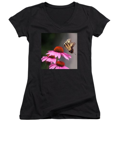 Butterfly And Coneflower Women's V-Neck (Athletic Fit)