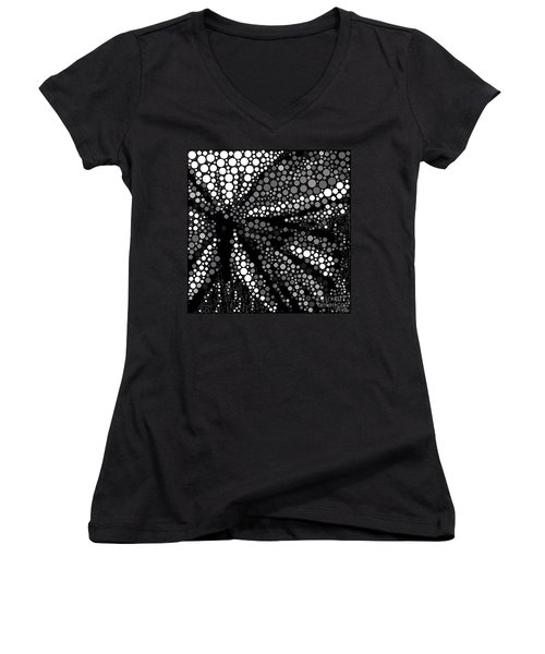 Butterfly Black And White Abstract Women's V-Neck (Athletic Fit)