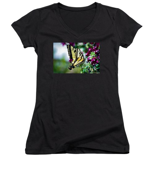 Butterfly On Purple Flowers Women's V-Neck (Athletic Fit)