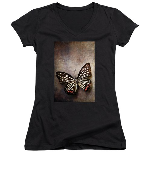 Butterfly Over Textured Background Women's V-Neck