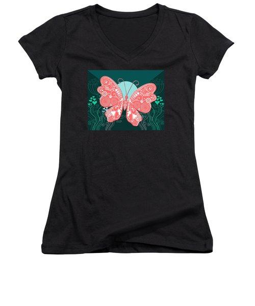 Butterfly Valentine Women's V-Neck