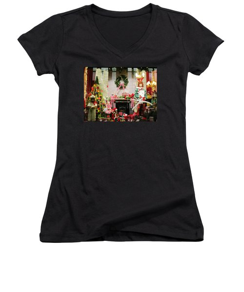 By The Fireplace Women's V-Neck T-Shirt