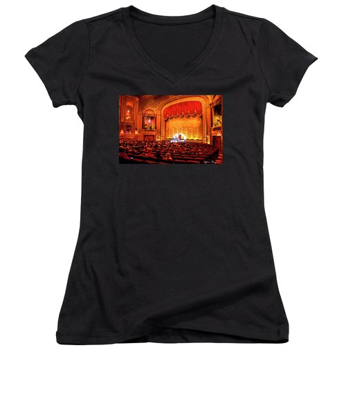 Women's V-Neck T-Shirt (Junior Cut) featuring the photograph Byrd Theatre Organist by Jean Haynes