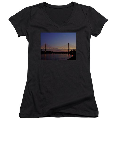 C And D Canal Bridge Women's V-Neck T-Shirt (Junior Cut) by Ed Sweeney