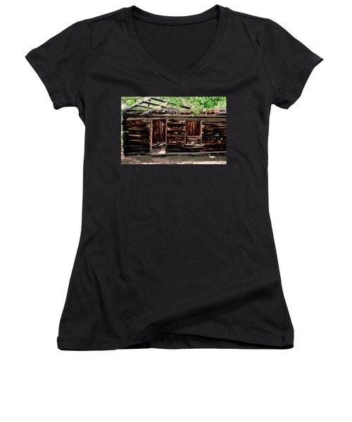 Cabin In The Woods Women's V-Neck T-Shirt (Junior Cut) by Ellen Heaverlo