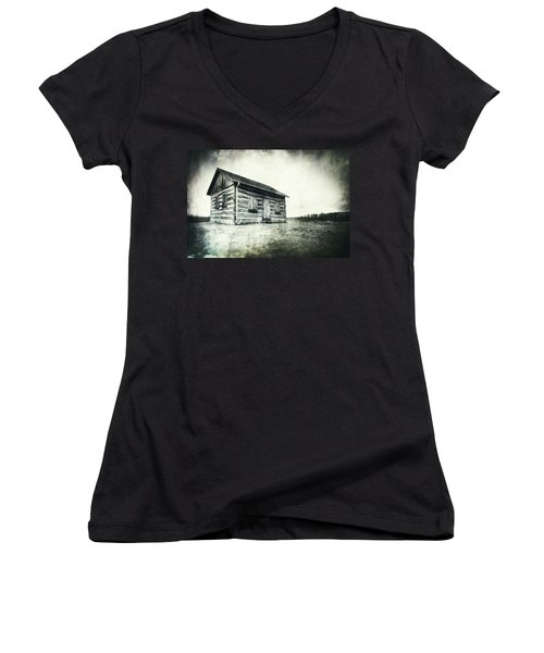 Cabin Near Paradise Springs - Kettle Moraine State Forest Women's V-Neck T-Shirt (Junior Cut) by Jennifer Rondinelli Reilly - Fine Art Photography