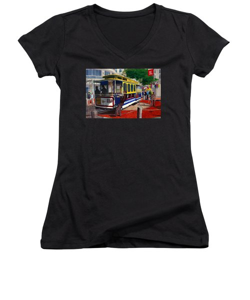 Cable Car Turntable At Powell And Market Sts. Women's V-Neck T-Shirt (Junior Cut) by Mike Robles