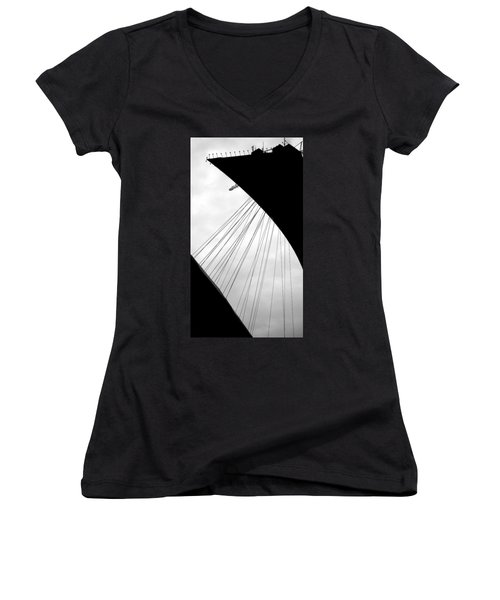 Women's V-Neck T-Shirt (Junior Cut) featuring the photograph Cables And Funes by Valentino Visentini
