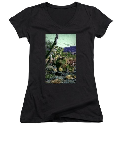Women's V-Neck T-Shirt (Junior Cut) featuring the photograph Cacti by Lori Seaman