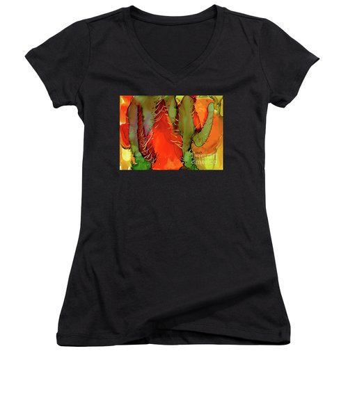 Women's V-Neck T-Shirt (Junior Cut) featuring the painting Cactus by Yolanda Koh