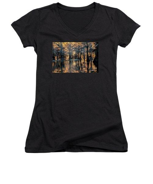 Caddo Lake Sunrise Women's V-Neck T-Shirt (Junior Cut) by Iris Greenwell