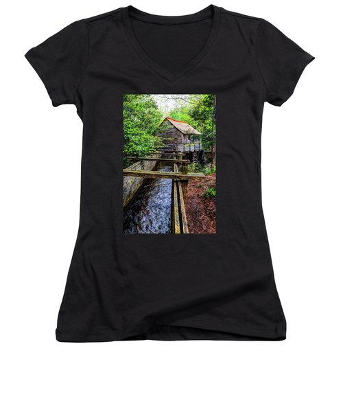 Cades Cove Grist Mill In The Great Smoky Mountains National Park  Women's V-Neck