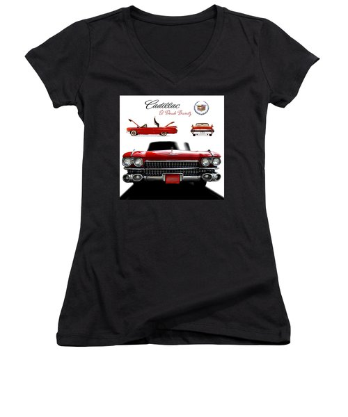 Women's V-Neck T-Shirt (Junior Cut) featuring the photograph Cadillac 1959 by Gina Dsgn