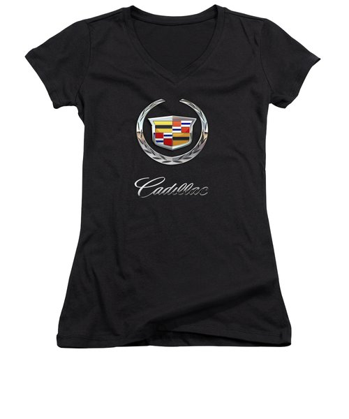 Cadillac - 3 D Badge On Black Women's V-Neck T-Shirt (Junior Cut) by Serge Averbukh