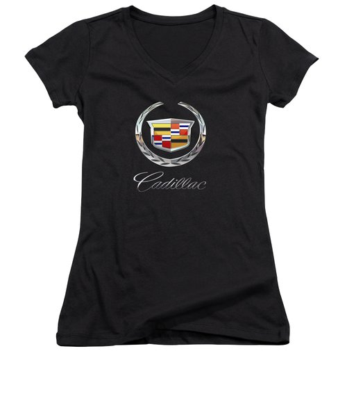 Cadillac - 3d Badge On Black Women's V-Neck T-Shirt (Junior Cut) by Serge Averbukh