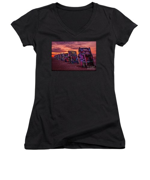 Cadillac Ranch At Sunrise  Women's V-Neck