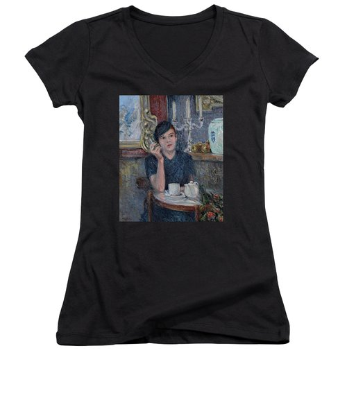 Cafe De Paris  Women's V-Neck T-Shirt