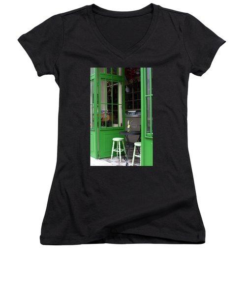 Cafe In Green Women's V-Neck T-Shirt (Junior Cut) by Lorraine Devon Wilke