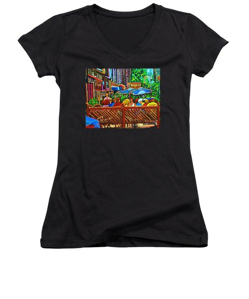 Women's V-Neck T-Shirt (Junior Cut) featuring the painting Cafe Second Cup by Carole Spandau