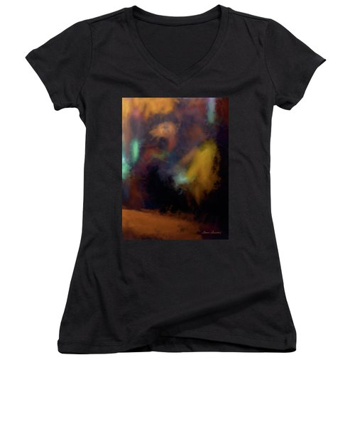 Cafe Window Women's V-Neck T-Shirt (Junior Cut) by Glenn Gemmell