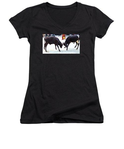 Calf Fighting Women's V-Neck T-Shirt