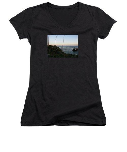 California At Twilight Women's V-Neck T-Shirt (Junior Cut) by Mini Arora