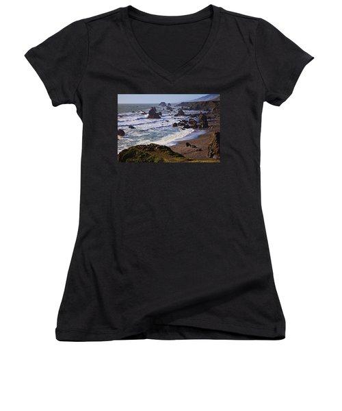 California Coast Sonoma Women's V-Neck T-Shirt (Junior Cut) by Garry Gay