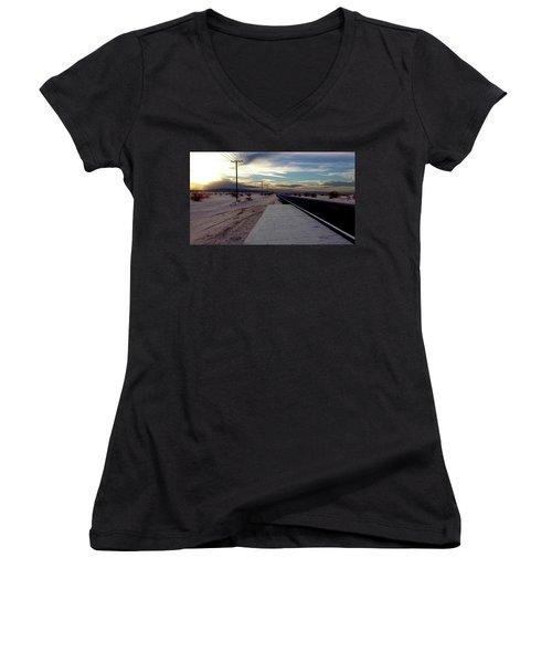 California Desert Highway Women's V-Neck T-Shirt (Junior Cut) by Christopher Woods