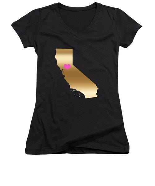 California Love On Black Background Women's V-Neck