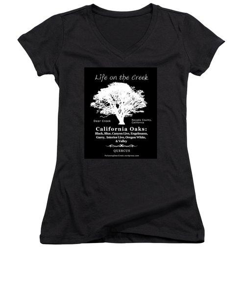 California Oak Trees - White Text Women's V-Neck