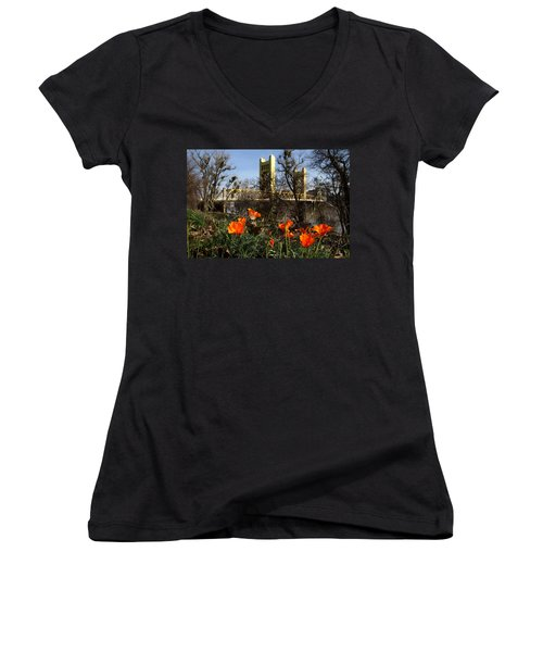 California Poppies With The Slightly Photographically Blurred Sacramento Tower Bridge In The Back Women's V-Neck