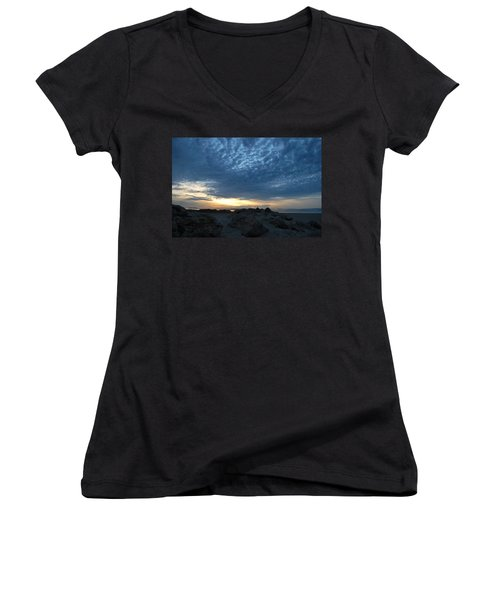California Rocky Beach Sunset  Women's V-Neck (Athletic Fit)