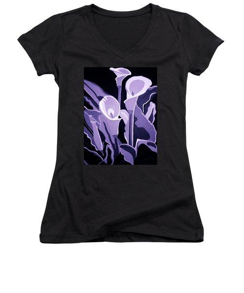 Calla Lillies Lavender Women's V-Neck