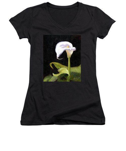 Calla Lily Women's V-Neck T-Shirt (Junior Cut) by Alice Leggett