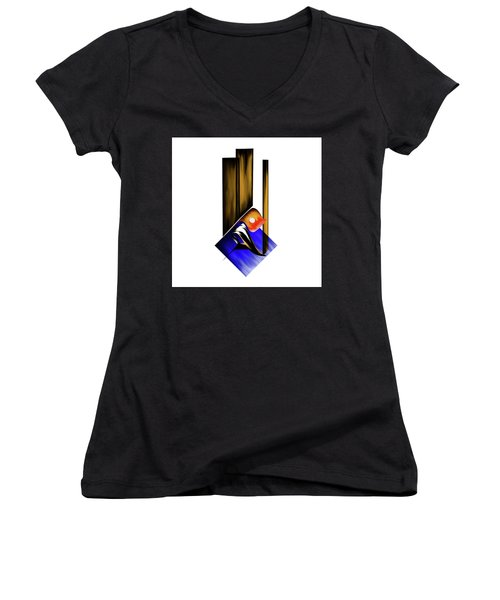 Women's V-Neck T-Shirt (Junior Cut) featuring the painting Calligraphy 102 1 by Mawra Tahreem