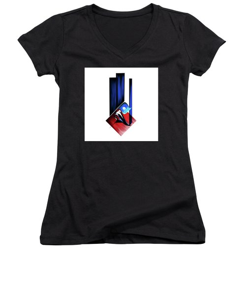 Women's V-Neck T-Shirt (Junior Cut) featuring the painting Calligraphy 102 2 by Mawra Tahreem