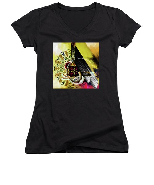 Women's V-Neck T-Shirt (Junior Cut) featuring the painting Calligraphy 103 2 1 by Mawra Tahreem