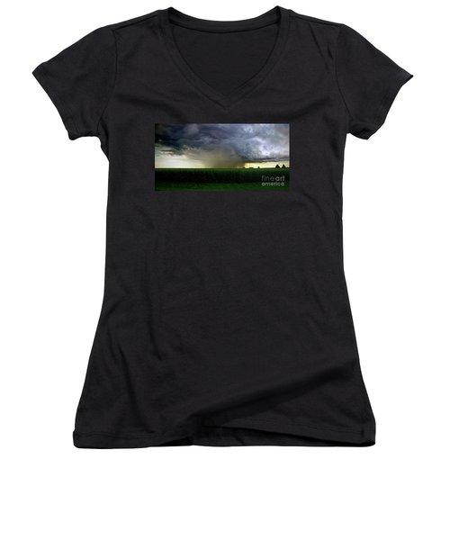Calm Before The Storm Women's V-Neck T-Shirt (Junior Cut) by Sue Stefanowicz