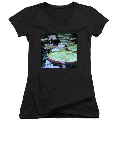Calm Reflections Women's V-Neck T-Shirt (Junior Cut) by John Lautermilch