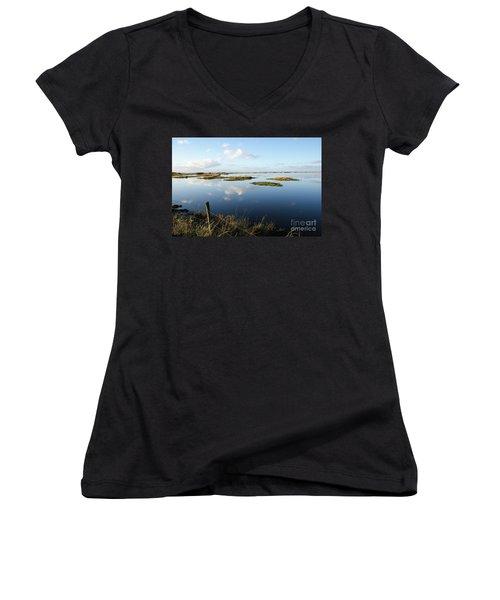 Calm Wetland Women's V-Neck T-Shirt (Junior Cut) by Kennerth and Birgitta Kullman