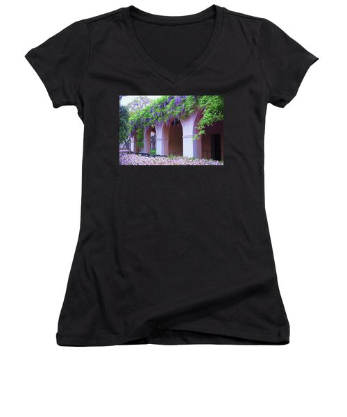 Women's V-Neck T-Shirt (Junior Cut) featuring the photograph Caltech Wisteria by Ram Vasudev