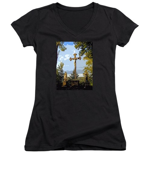 Women's V-Neck T-Shirt (Junior Cut) featuring the photograph Calvary Group - Parkstein by Juergen Weiss